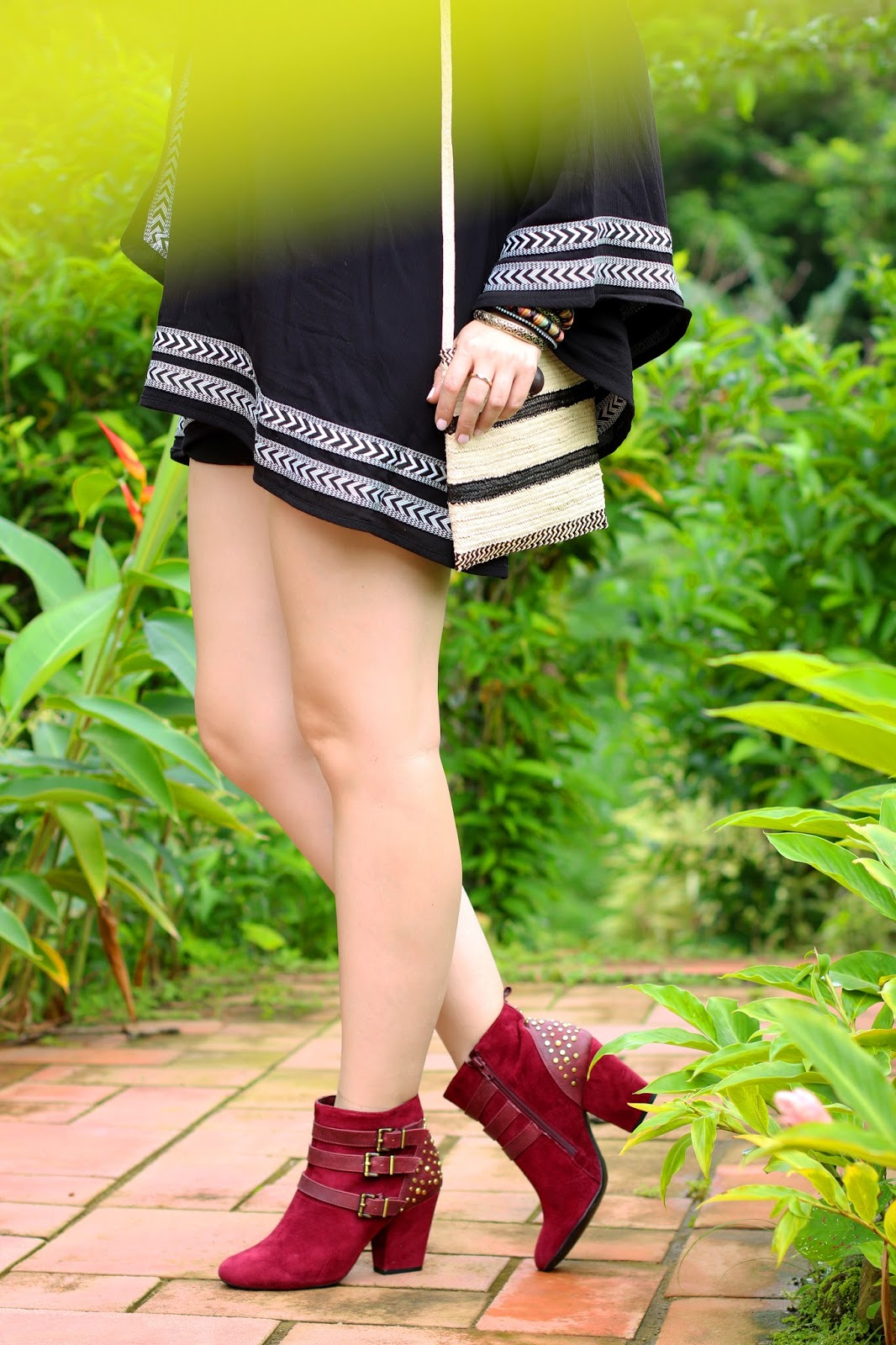 This red booties are the perfect pop of color to a neutral outfit