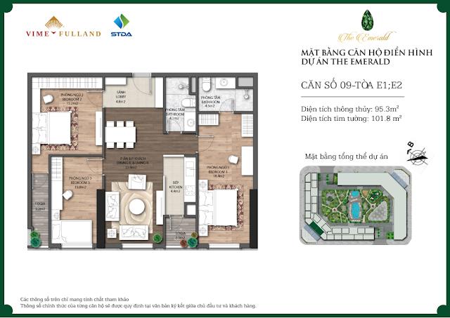 Thiết kế căn 09 tòa E1 - E2