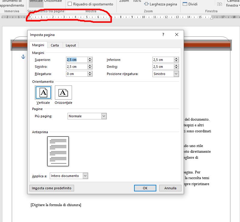 Attivare impostazione pagina in word cliccando sul righello attivo in alto
