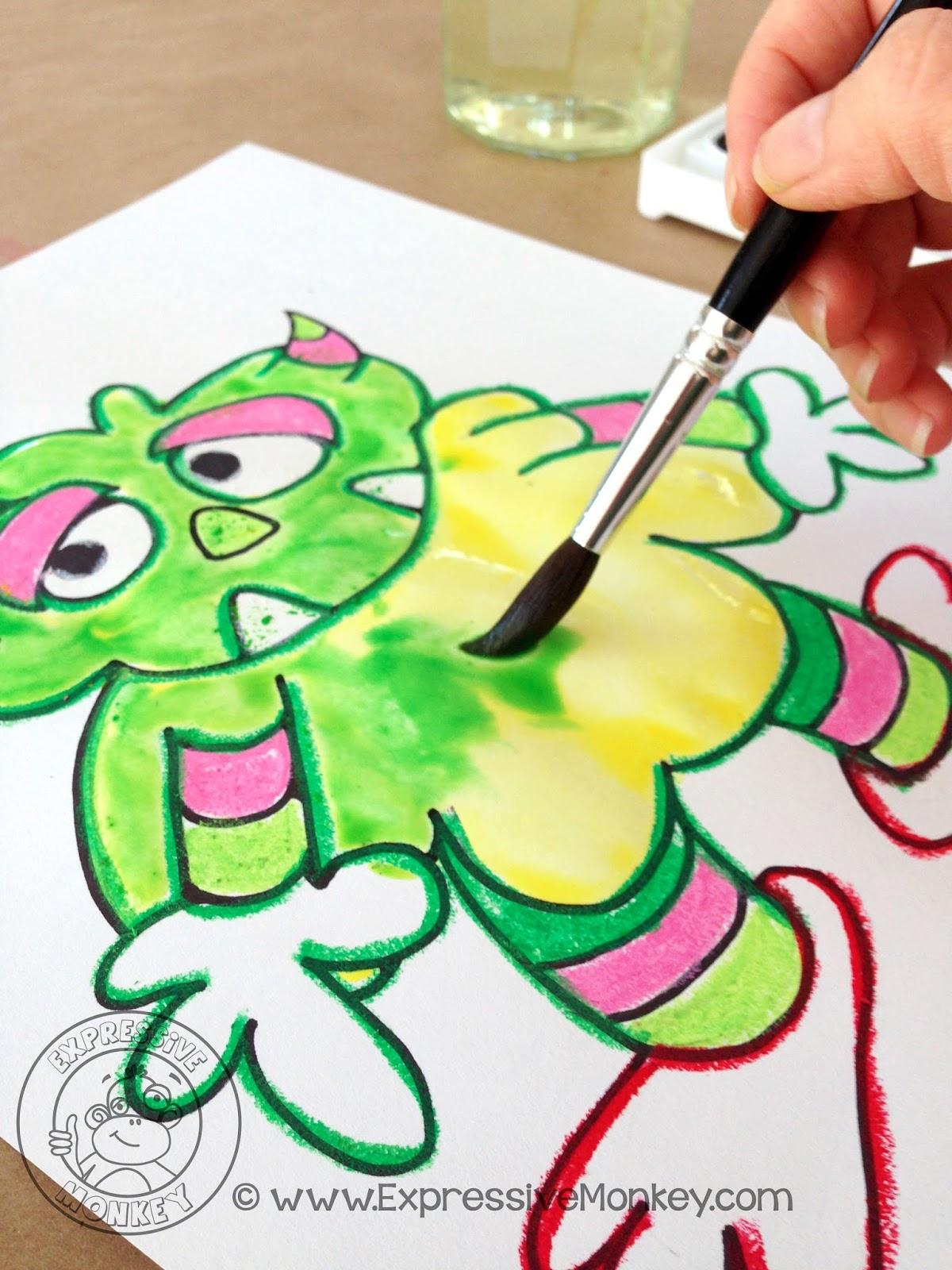 Contrasting Color Monsters Watercolor Alcohol Technique