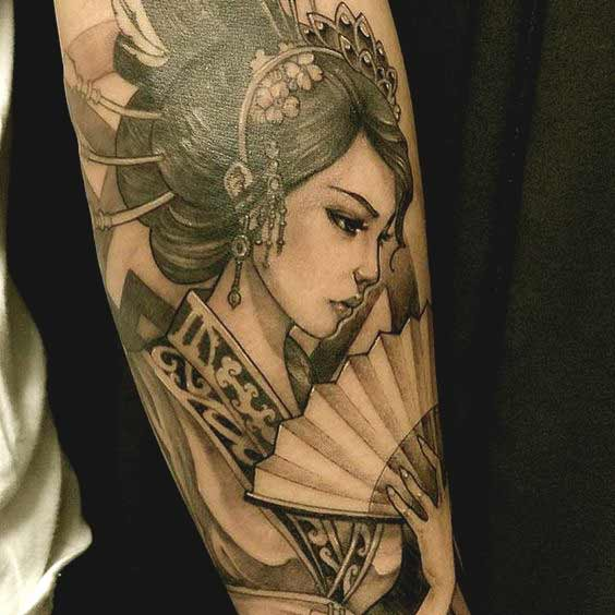 50 amazing geisha tattoos designs and ideas for men and women. Black Bedroom Furniture Sets. Home Design Ideas