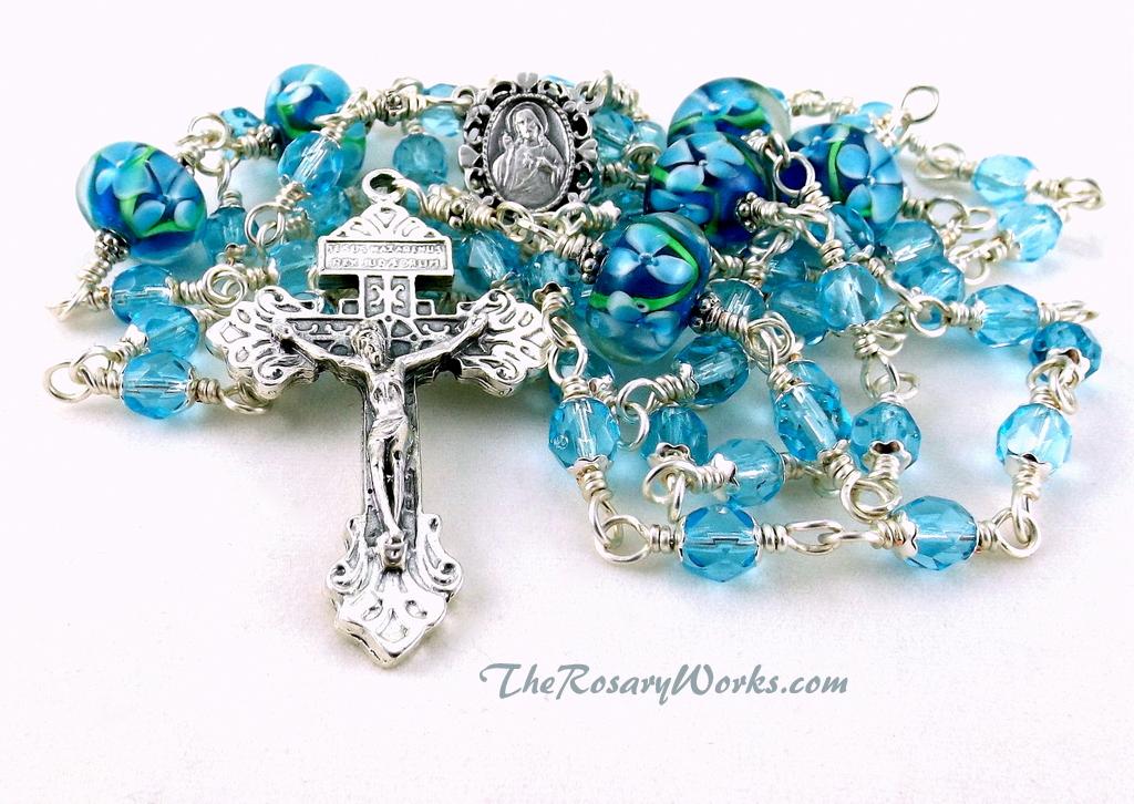 Strengthen Your Brethren: Sacred Heart Rosary Beads Aqua Blue Floral ...