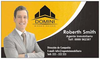 Tarjetas de visita para agente inmobiliario