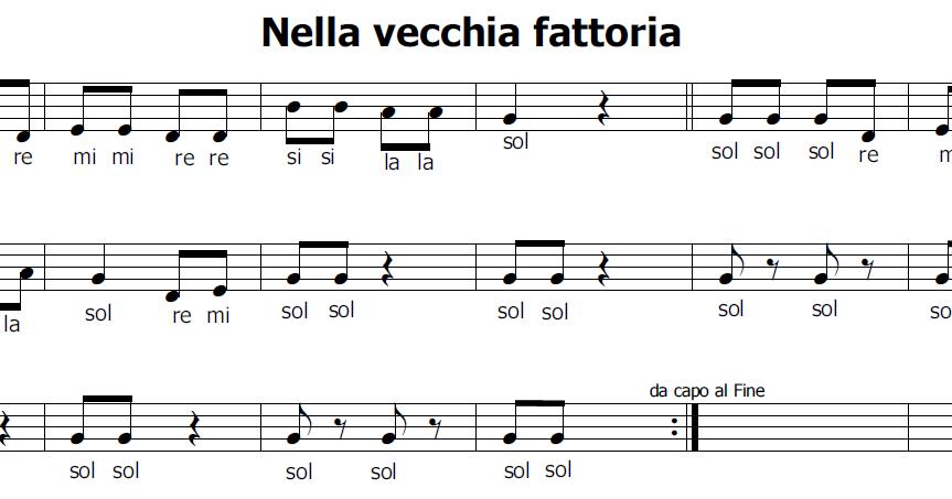 Musica E Spartiti Gratis Per Flauto Dolce Nella Vecchia Fattoria