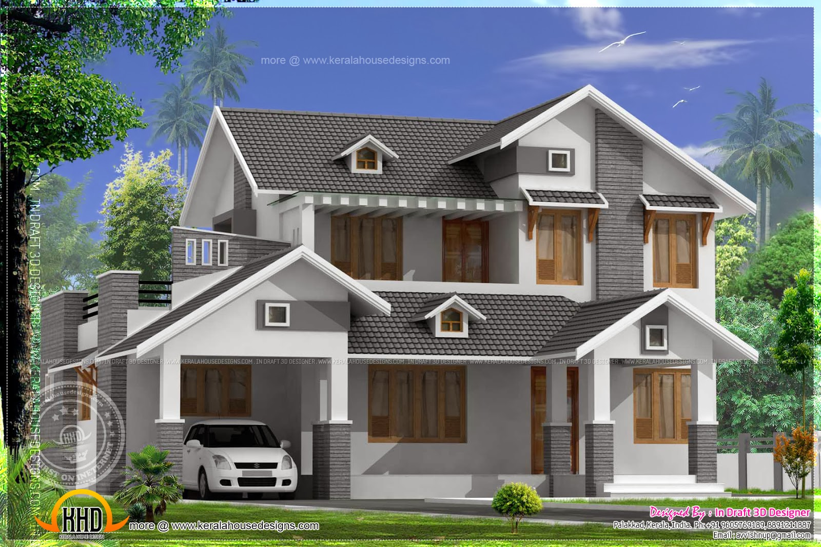2367 square feet sloping roof home kerala home design for Sloped roof house plans in india
