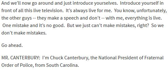Snippet of Donald Trump's speech transcript