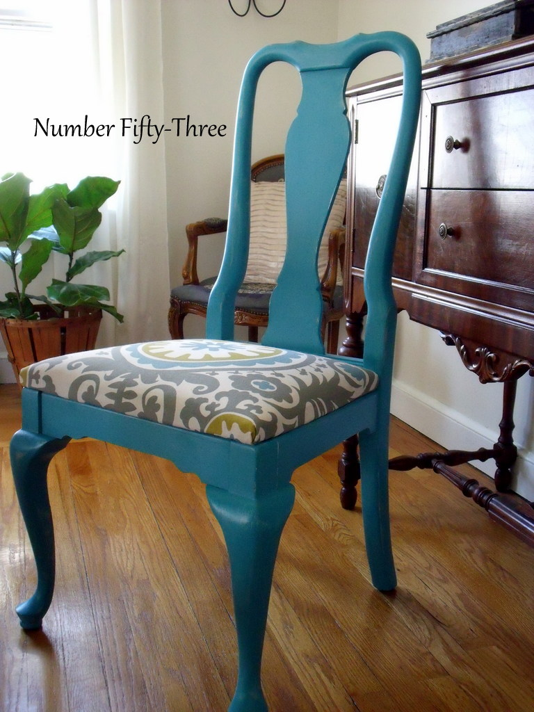 Number Fifty Three Bold Peacock Vintage Dining Chairs