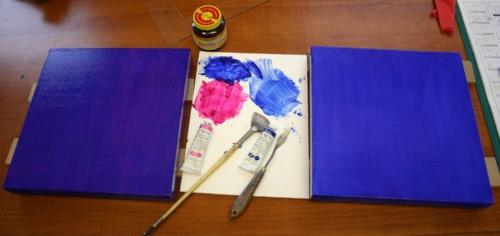 """2-12"""" x 12"""" canvas, palette paper, oil paint, fan brush, Original Liquin, Ultramarine & Magenta oil paint and palette knife."""
