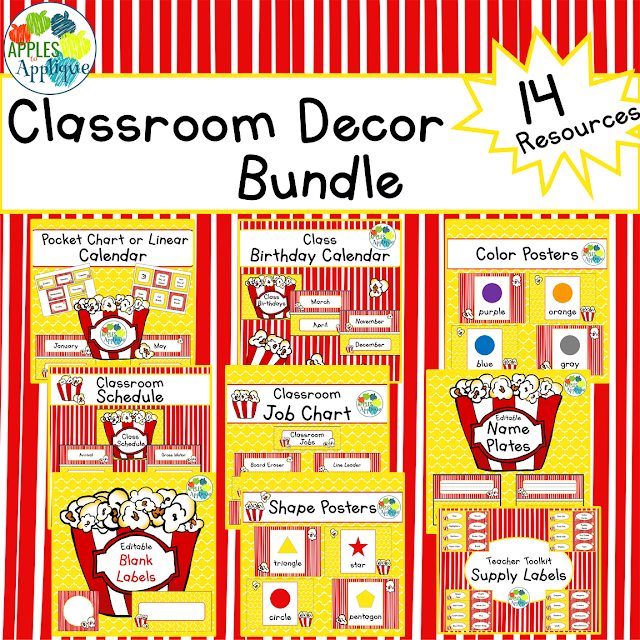 Popcorn theme classroom decor is perfect as-is, or when paired with circus animals or movie and film decor! | Apples to Applique