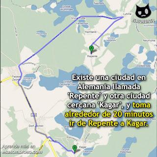 En Alemania, toma alrededor de 20 minutos ir de Repente a Kagar.
