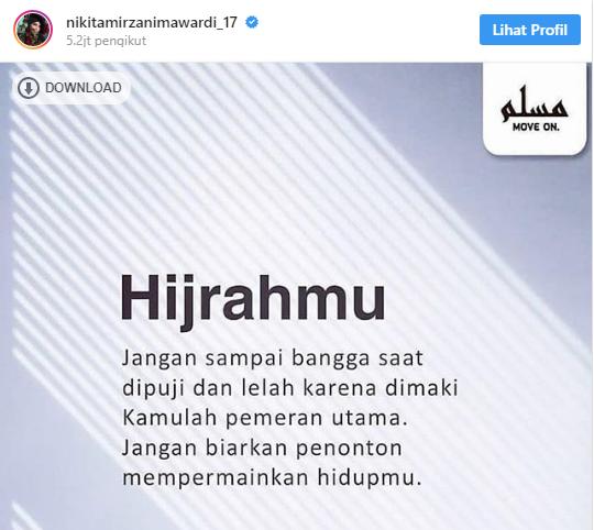 Selalu Dihujat Netter Perihal Keputusannya Untuk Hijrah, Ini yang Dikatakan Nikita Mirzani