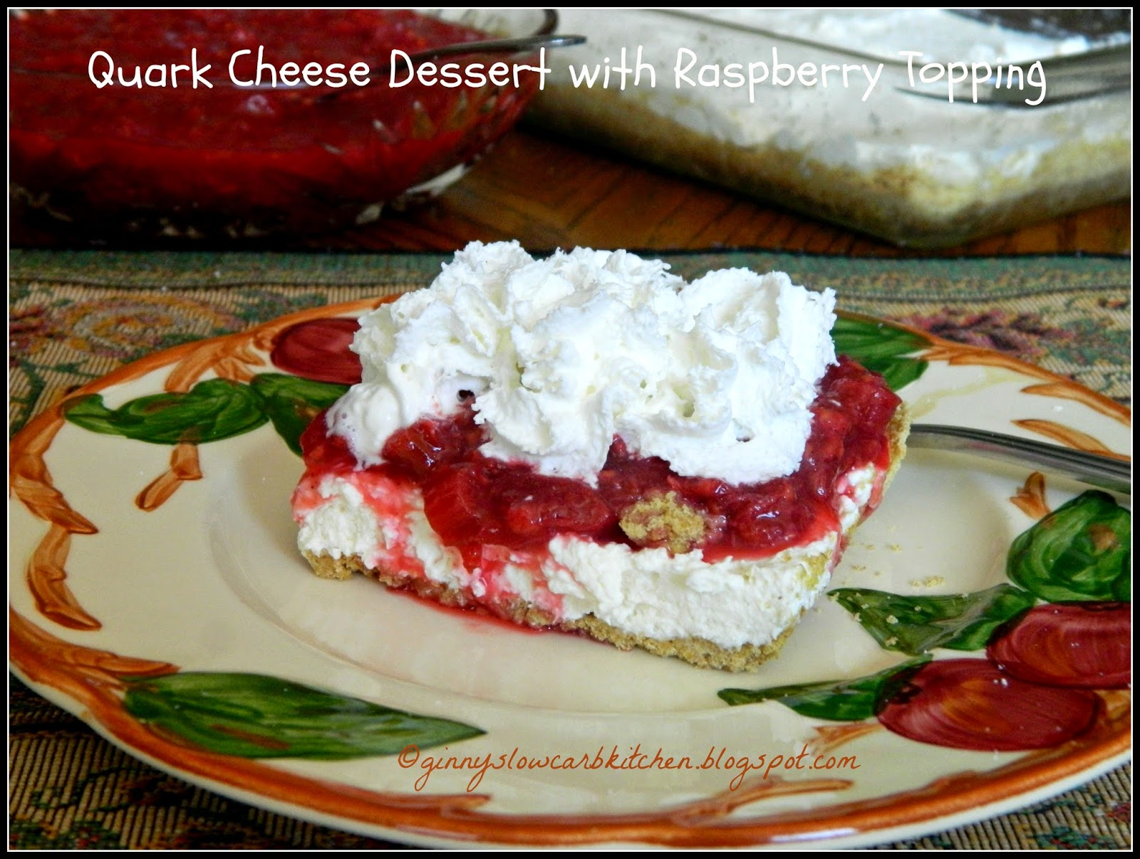 ginny 39 s low carb kitchen quark cheese dessert with raspberry rhubarb topping. Black Bedroom Furniture Sets. Home Design Ideas