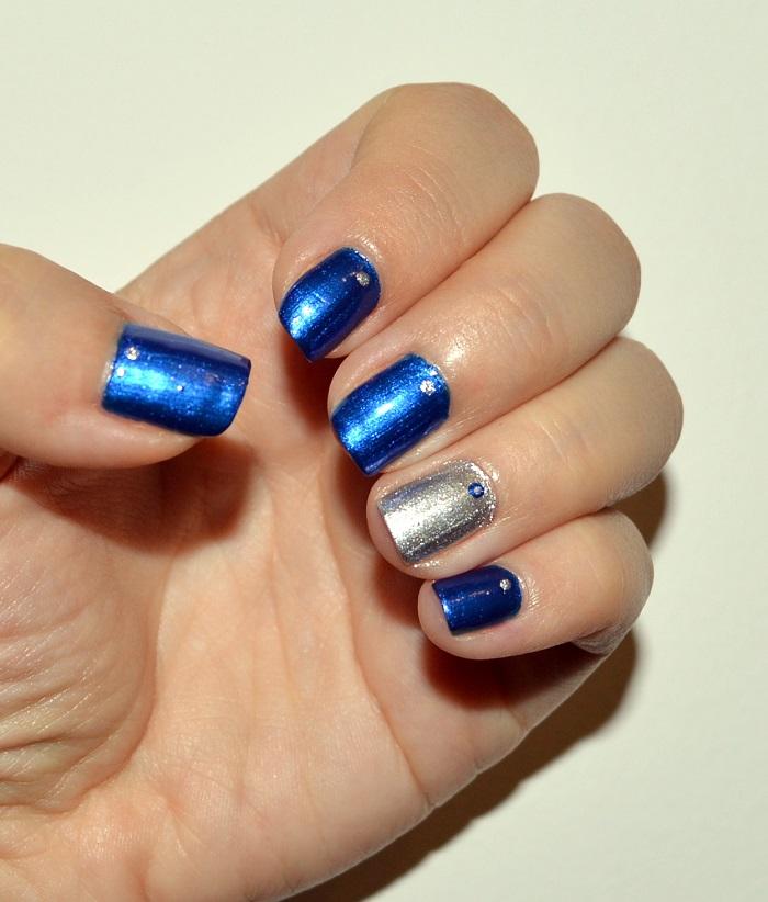 beauty, #beauty, #nails, nails, natural nails, diy nails, nail design, nail art, nail polish, blue silver nails