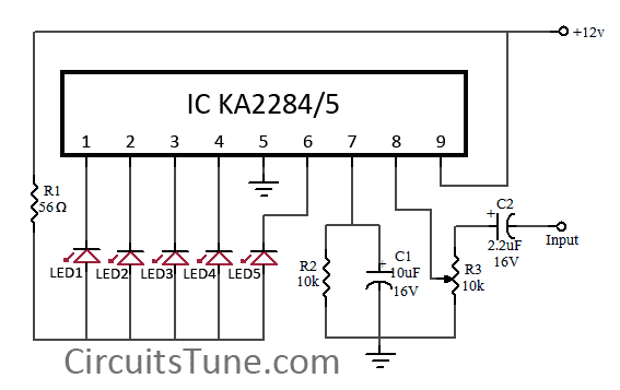 5 LED VU meter circuit diagram using KA2284 | CircuitsTune Vu Meter Schematic Diagram on generator schematic, compressor schematic, ph meter schematic, oscilloscope schematic, tone control schematic, transistor tester schematic, mixer schematic, multimeter schematic, voltmeter schematic, sensor schematic, lc meter schematic, capacitance meter schematic, amplifier schematic, analog meter schematic, lcd schematic, distortion schematic, lm3915 schematic, variac schematic, led schematic, current transformer schematic,