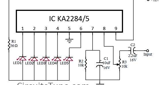 Wiring & diagram Info: 5 LED VU meter circuit diagram