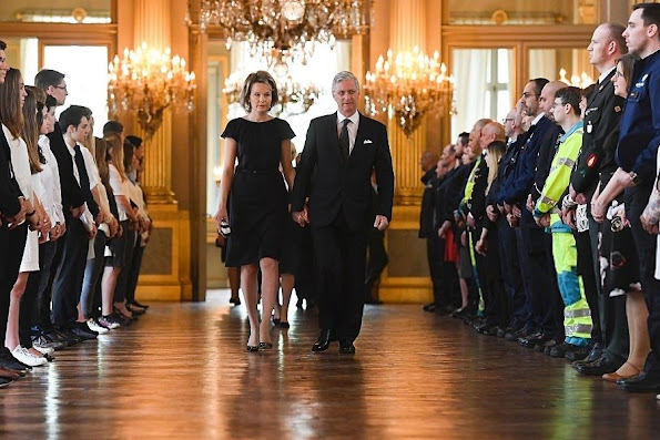 Queen Mathilde and King Philippe  attended a royal remembrance service for the victims of the 22nd March 2016 attacks at the Royal Palace