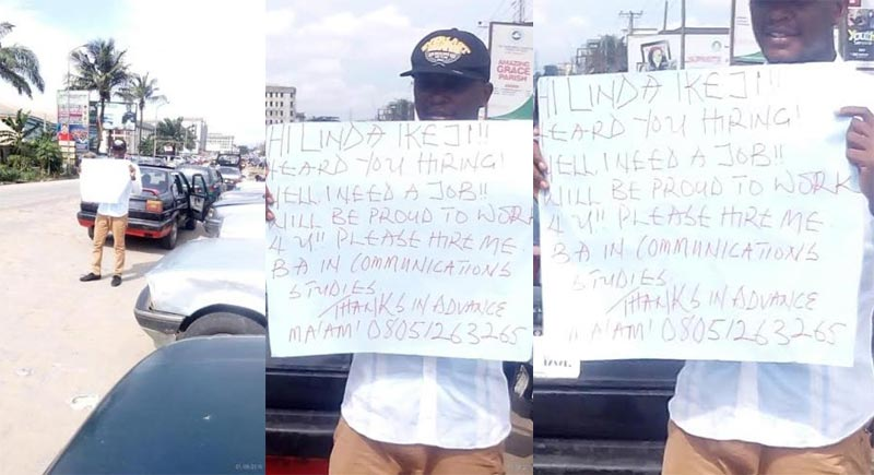 Another jobseeker with placard seen in Port Harcourt