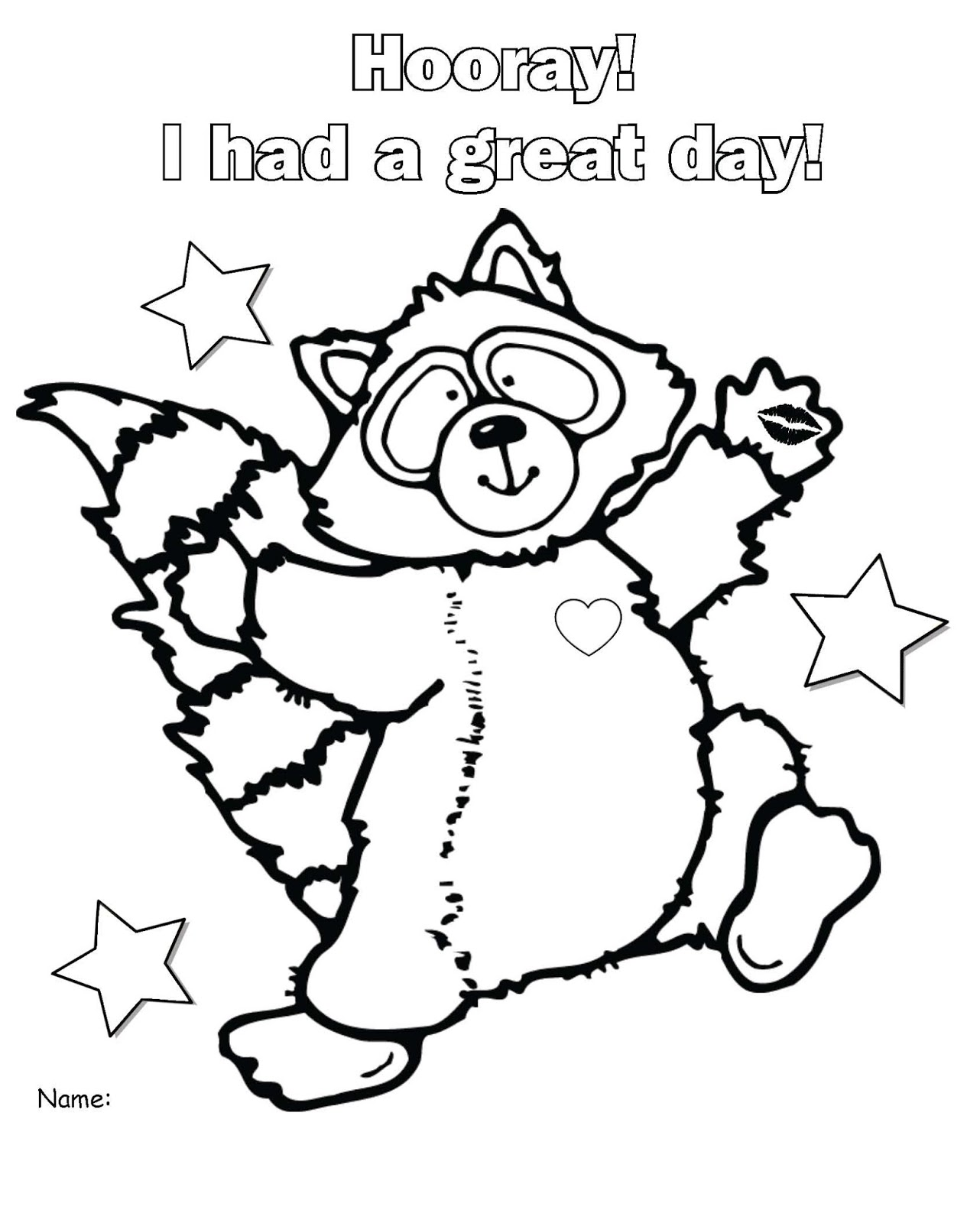 chester raccoon coloring page usable kissing hand worksheets