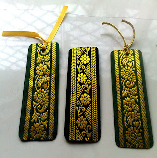 Home made bookmarks with saree borders