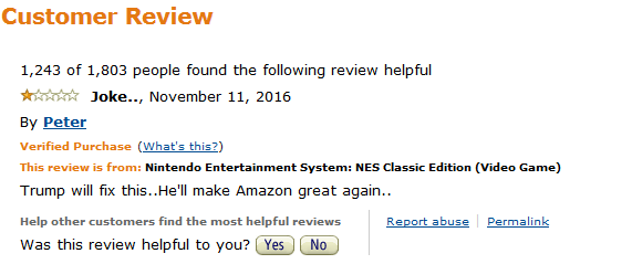 Amazon Customer Review Trump will make Amazon great again Nintendo Entertainment System NES Classic Edition