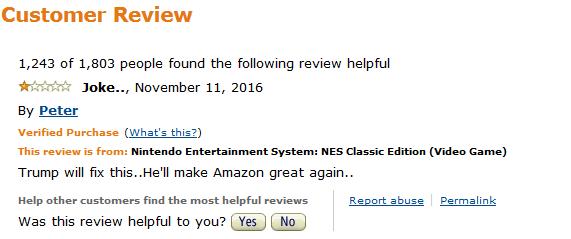 Amazon Customer Review Trump will make Amazon great again Nintendo Entertainment System NES Classic Edition