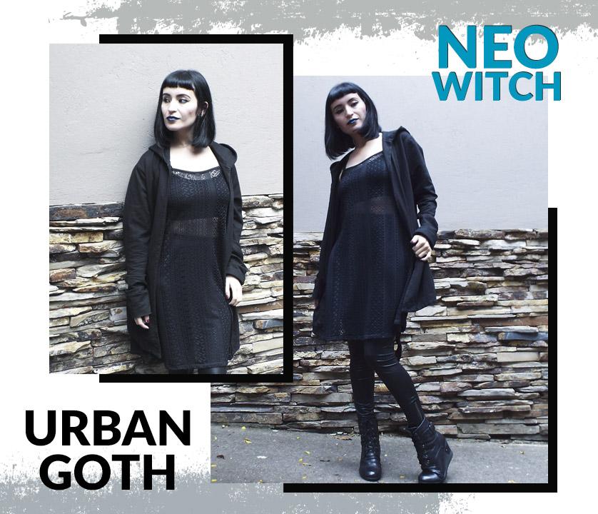 Neo Witch: outfit con vestido en encaje gótico y urbano