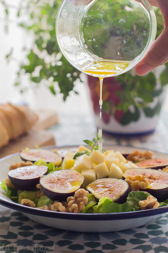 Ensalada de higos con vinagreta de miel #singluten #sinlactosa