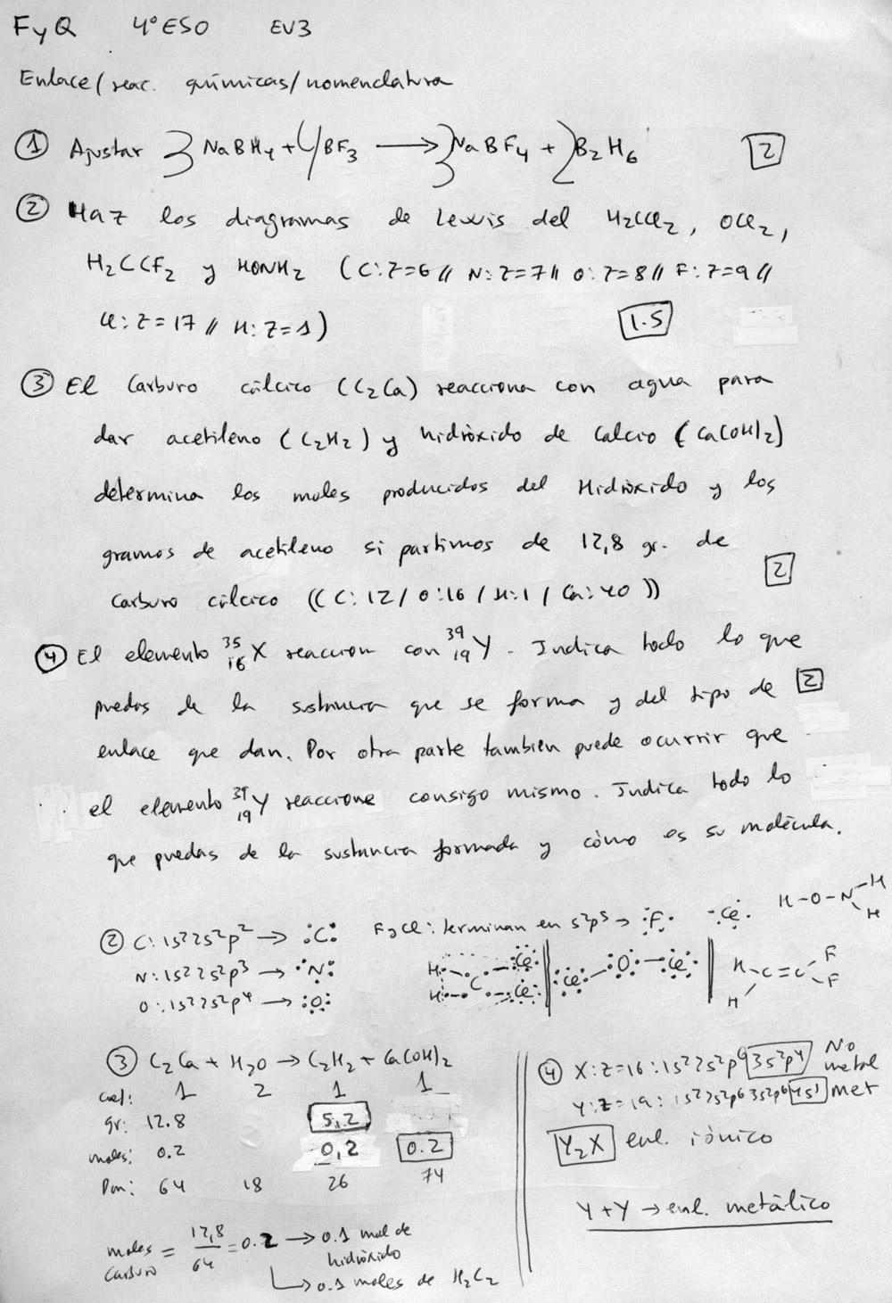 FISICA Y QUIMICA PARA ESTUDIANTES: Examen y corrector EV3 4º ESO ...