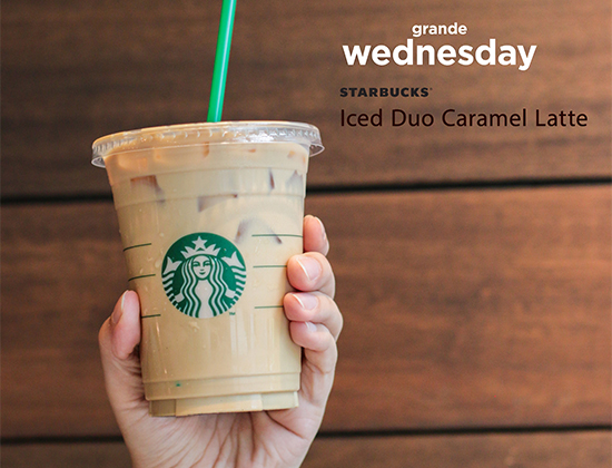 P100 Only For Iced Duo Caramel Latte Grande from Starbucks TODAY!