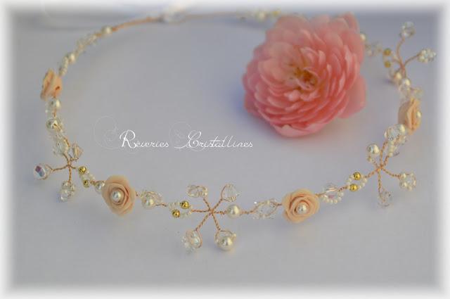 couronne de roses et cristaux pour mariage