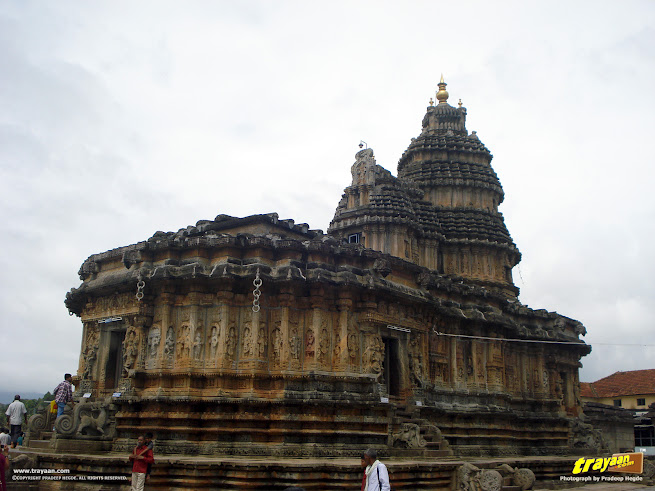 A view of the North/Eastern or side/front side of Vidyashankara Temple, in Sringeri, Chikkamagalur district, Karnataka, India
