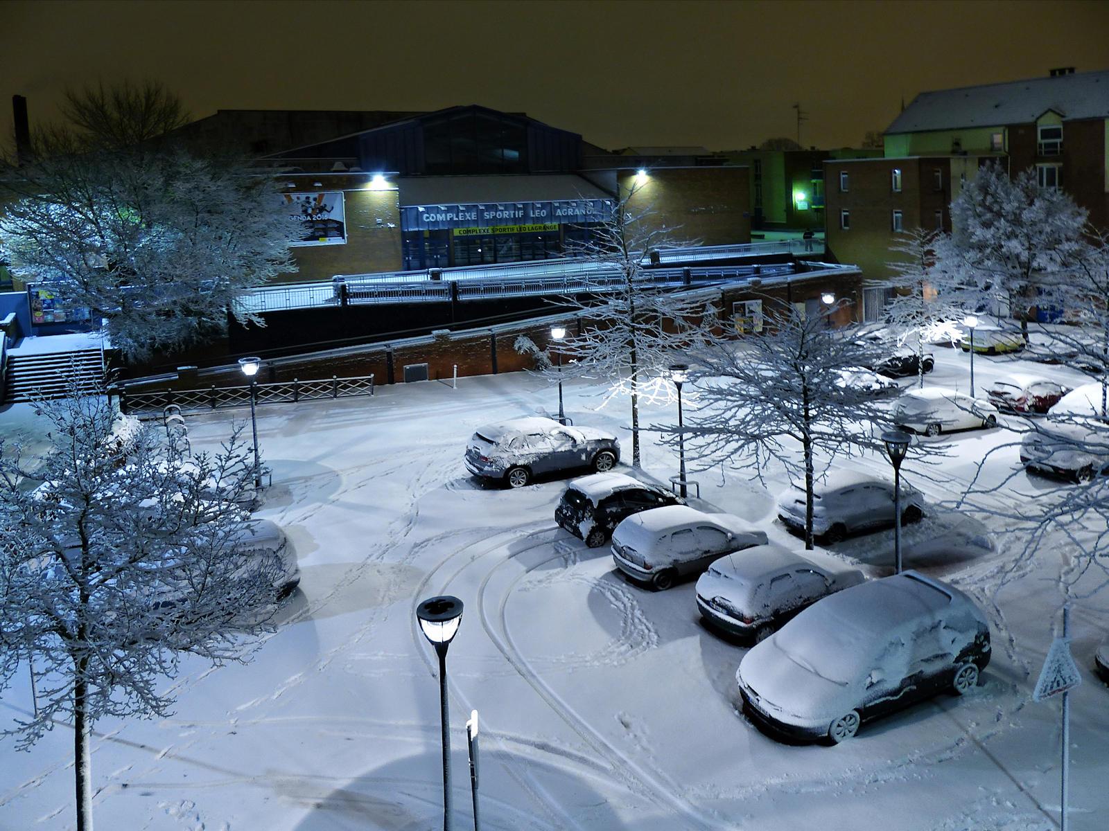 Le complexe sportif Léo Lagrange sous la neige de 2019