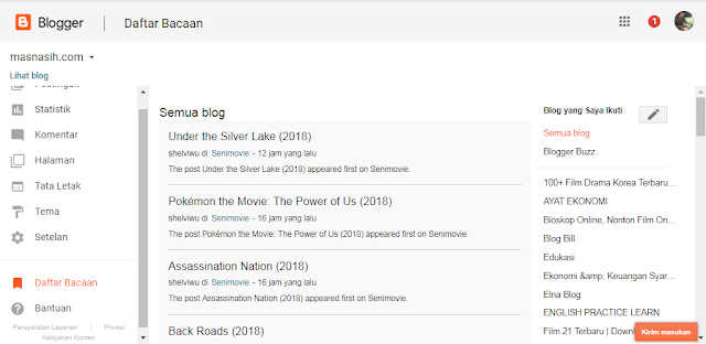tampilan daftar bacaan blogger