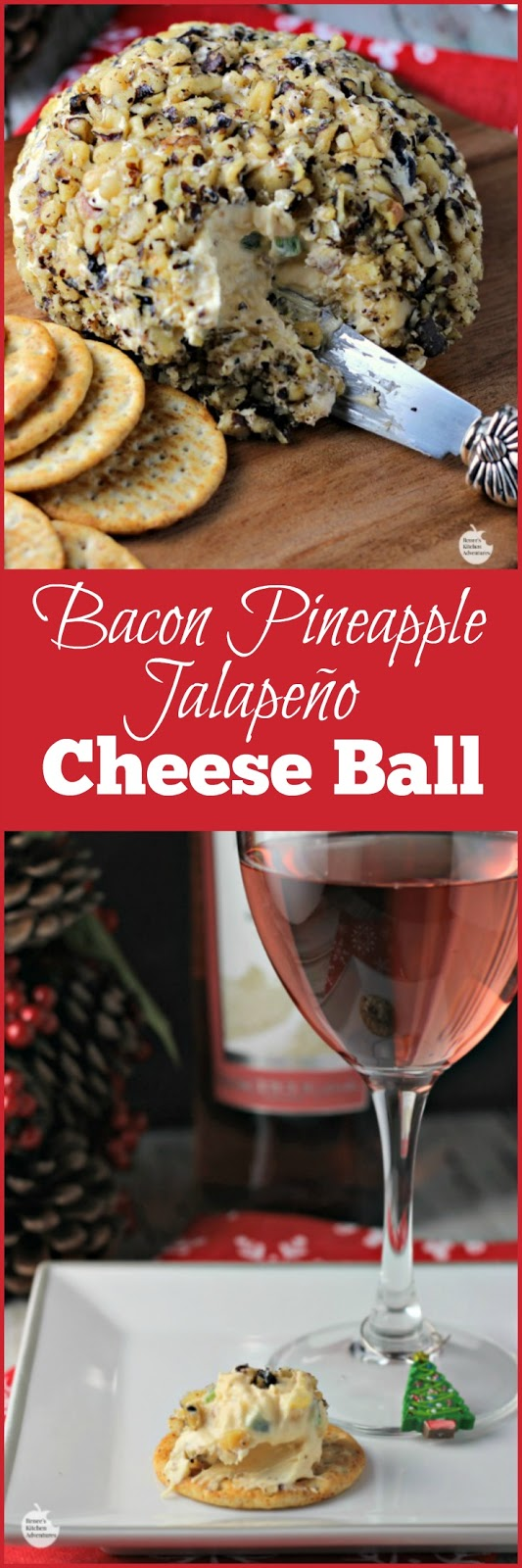 Bacon Pineapple Jalapeño Cheese Ball | by Renee's Kitchen Adventures - Easy cheese ball appetizer recipe for all your holiday entertaining needs! #SundaySupper #GalloFamily