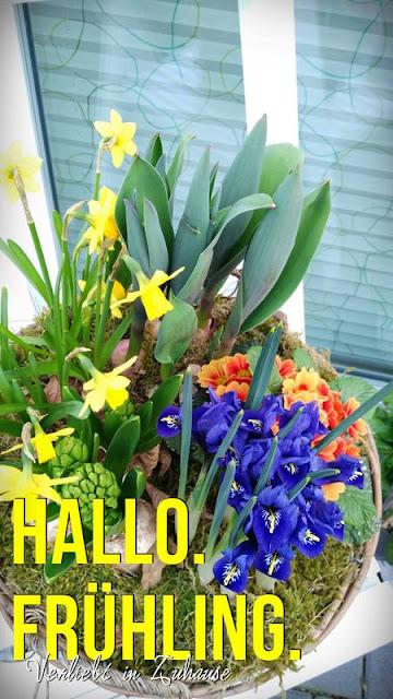 Haustür Deko im Fruehling: Blumen im Eingangsbereich sind immer eine tolle Dekoration