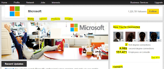 Microsoft LinkedIn company page, follow company pages on LinkedIn,