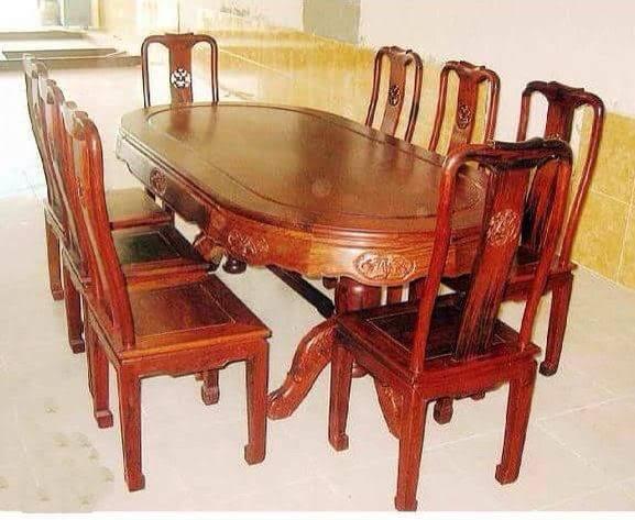 Bộ Bàn Ghế Ăn 6 ghế gỗ trẹo tròn 1m6