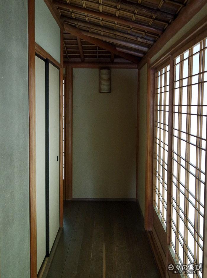 couloir du pavillon shoin, jardin Shokado de Yawata, Kyoto