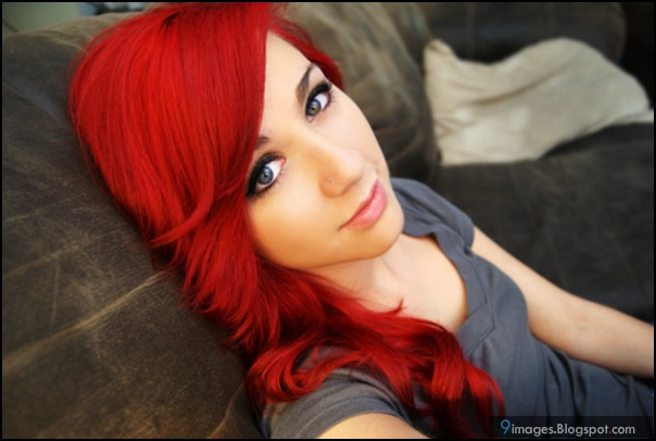Emo girl cute red hair blonde beautiful