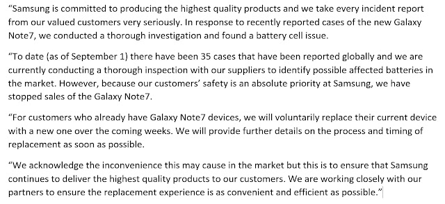 Samsung Official Statement On Galaxy Note 7 Recall