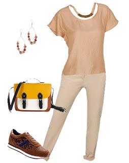Consultoria de imagem - rita completo - look em tons de castanho - calças bege, blusa castanha, mala multicolor branco castanho e amarela e ténis leopardo