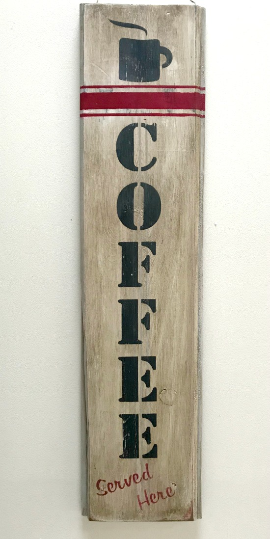 DIY Rustic and Distressed Vertical Coffee Sign