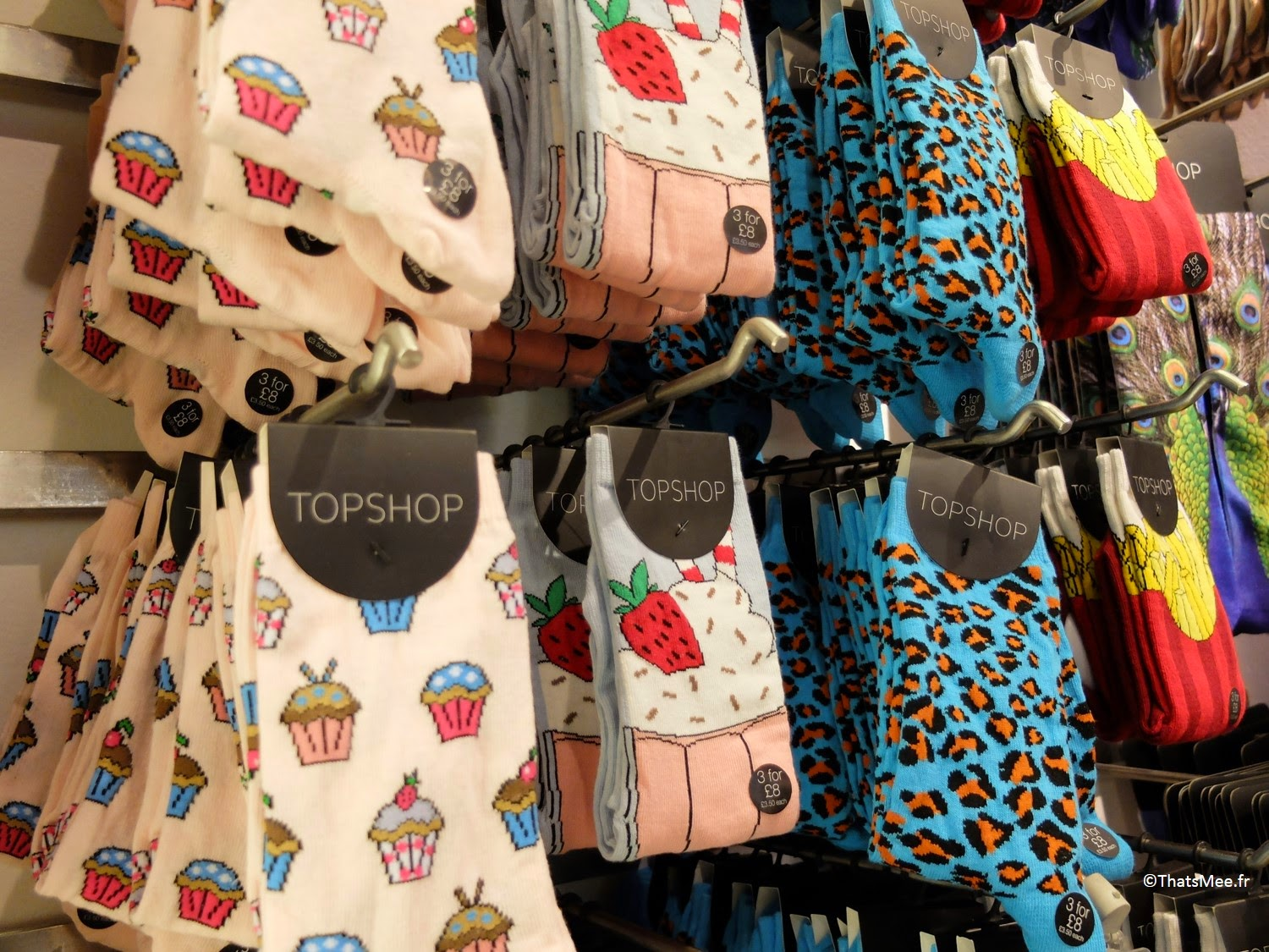 Chaussettes ridicool cupcakes, chaussettes graou bleu, Topshop Londres Picadilly Oxford Street