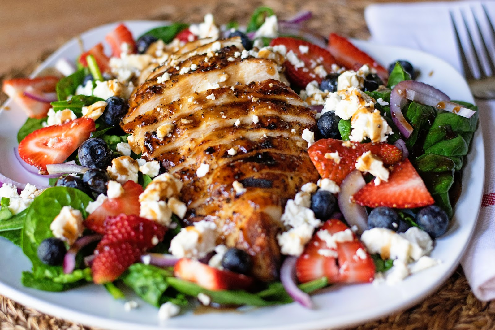 Chicken & Strawberry Salad w Balsamic Poppy Seed Dressing