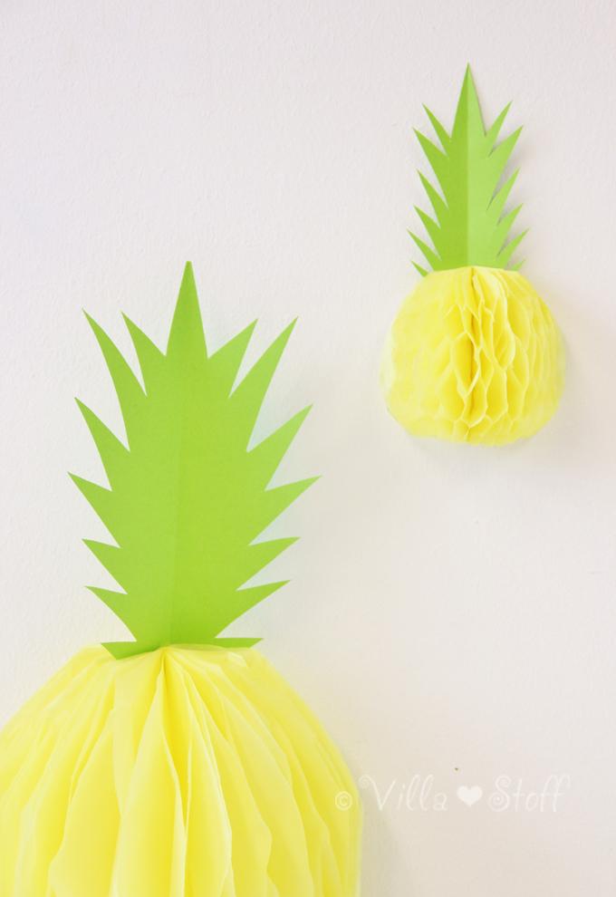 villa stoff blog diy ananas wabenball basteln. Black Bedroom Furniture Sets. Home Design Ideas