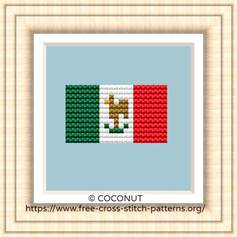 NATIONAL FLAG OF MEXICO CROSS STITCH CHART