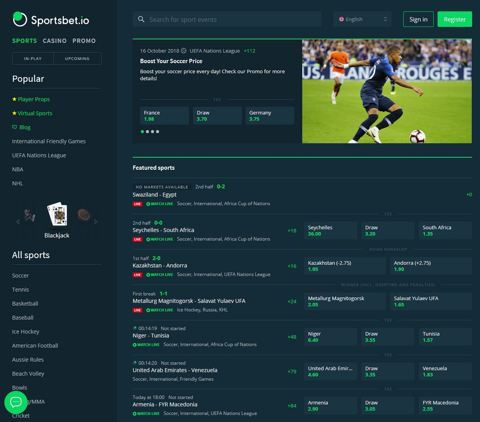 Sportsbet.io Screen