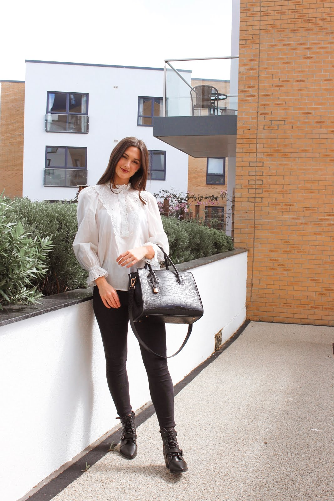 white blouse outfit