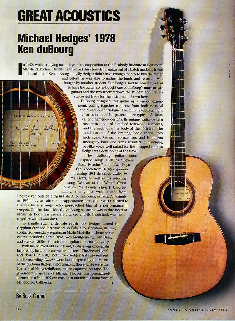 the acoustic guitar forum for sale dubourg custom 7 string michael hedges content. Black Bedroom Furniture Sets. Home Design Ideas