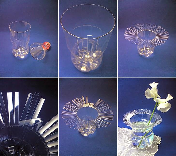 vas bunga dari botol bekas